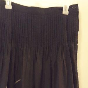 Black Tuck-Pleat Swing Skirt w/ Gold Embroidery